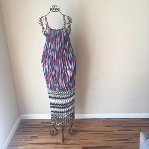 Absolutely Incredible Pleated Mixed Pattern Dress